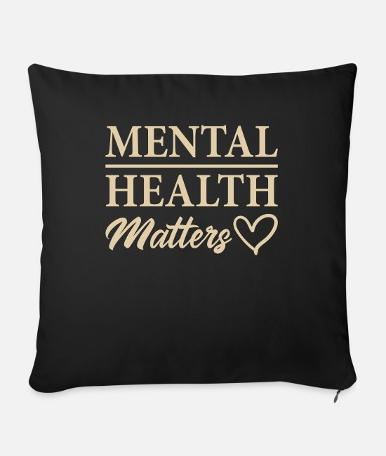 Funny Bowling Pillow Cases - Mental Health Matters Funny Mental Health Awarenes - Sofa pillow with filling 45cm x 45cm black