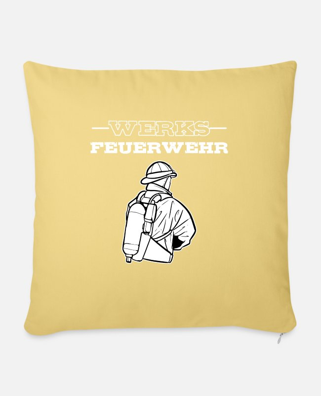 Fire Department Pillow Cases - American Volunteer Fire Department Fireman Heroes - Sofa pillow with filling 45cm x 45cm washed yellow