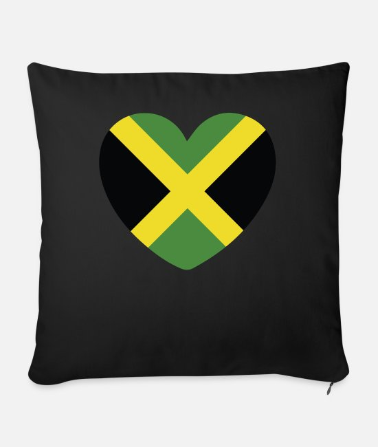English Pillow Cases - COOL JAMAICA FLAG DESIGN - Sofa pillow with filling 45cm x 45cm black