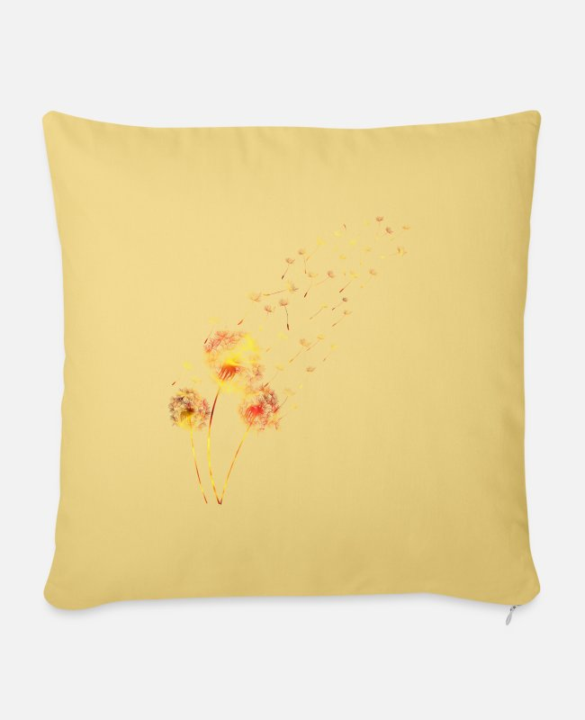 Rural Pillow Cases - Dandelion wild herbs tattoo dog flower gift - Sofa pillow with filling 45cm x 45cm washed yellow