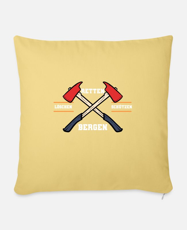 Usa Pillow Cases - American Firefighter Axe Hatchet Proud Fireman Ax - Sofa pillow with filling 45cm x 45cm washed yellow