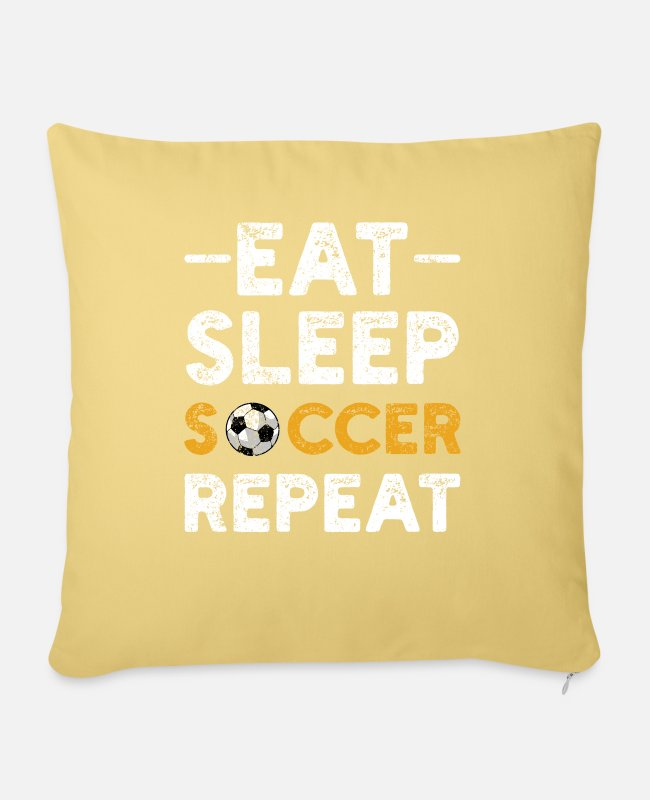Sport Pillow Cases - Soccer sport soccer player - Sofa pillow with filling 45cm x 45cm washed yellow