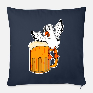 Low German Seagull Beer Seagull North Sea Northern Germany - Sofa pillow with filling 45cm x 45cm