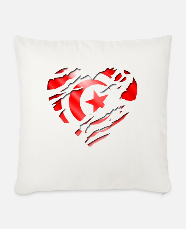 Peace Design Europe World Chad Ghana Tunisian Pillow Cases - africa flag tunisia tunisie - Sofa pillow with filling 45cm x 45cm natural white