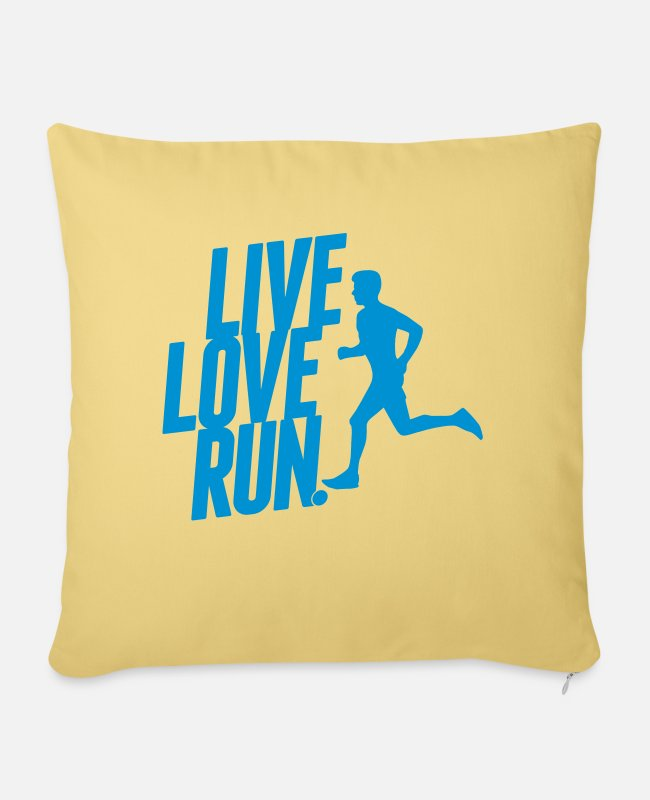 Speed Pillow Cases - Live love run - Sofa pillow with filling 45cm x 45cm washed yellow