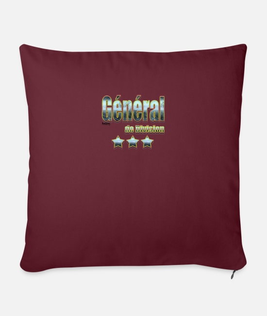 Army Pillow Cases - Division general - Sofa pillow with filling 45cm x 45cm burgundy
