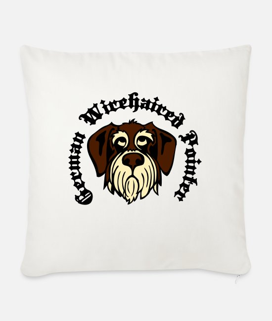 Gwp Pillow Cases - wirehaired_pointer_face_3c - Sofa pillow with filling 45cm x 45cm natural white