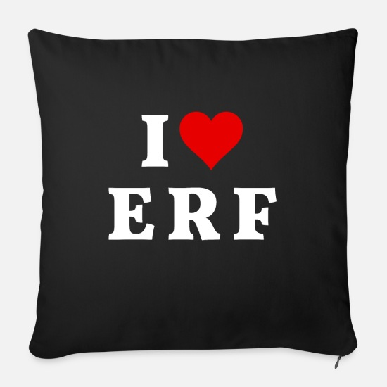 Love Pillow Cases - I love ERF | Erfurt | Thuringia - Sofa pillow with filling 45cm x 45cm black