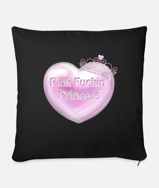 Pink Pillow Cases - Pink F kin Princess Heart spaced better - Sofa pillow with filling 45cm x 45cm black