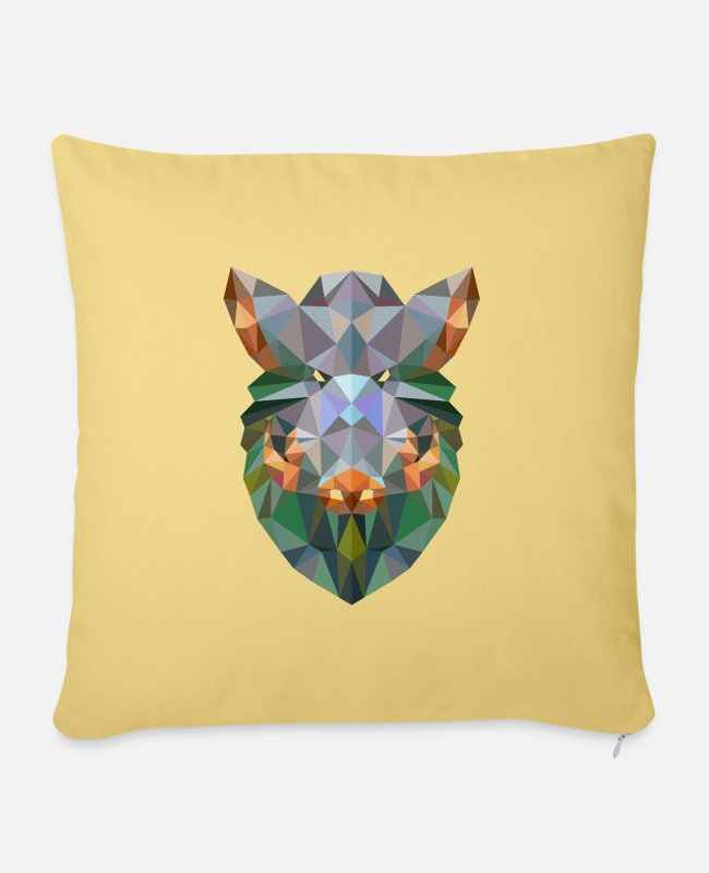 Artist Pillow Cases - Wild boar hunting hunter pig polygon animal - Sofa pillow with filling 45cm x 45cm washed yellow