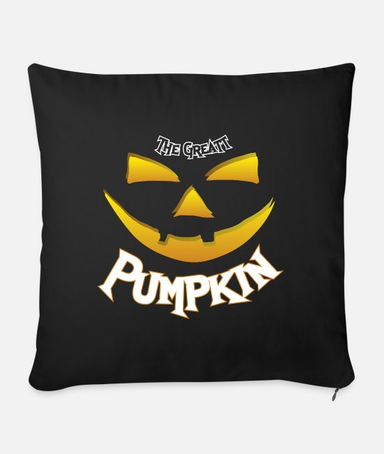 Midnight Pillow Cases - Halloween big pumpkin party saying - Sofa pillow with filling 45cm x 45cm black