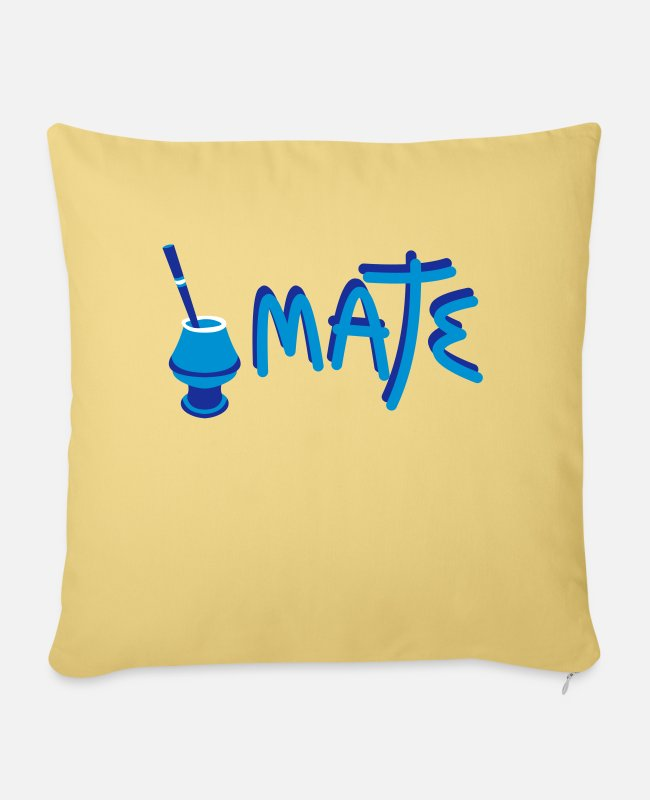 Mateo Pillow Cases - Mate Argentino - Sofa pillow with filling 45cm x 45cm washed yellow