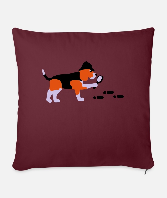 Rescue Pillow Cases - Search-and-rescue dog - Sofa pillow with filling 45cm x 45cm burgundy