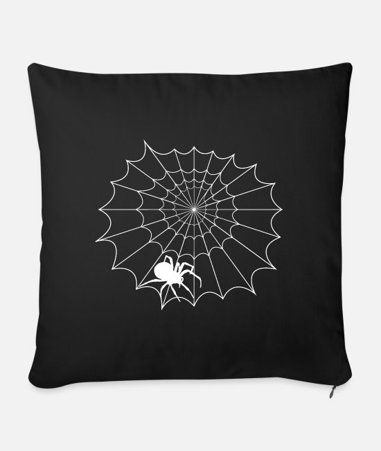 Cobweb Pillow Cases - Net with spider - Sofa pillow with filling 45cm x 45cm black