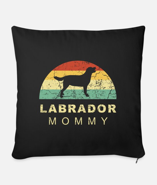 Male Puppy Dog Puppy Pillow Cases - Grunge retro vintage labrador dog mom - Sofa pillow with filling 45cm x 45cm black
