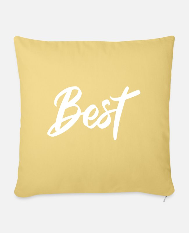 Motivation Pillow Cases - Best - Sofa pillow with filling 45cm x 45cm washed yellow