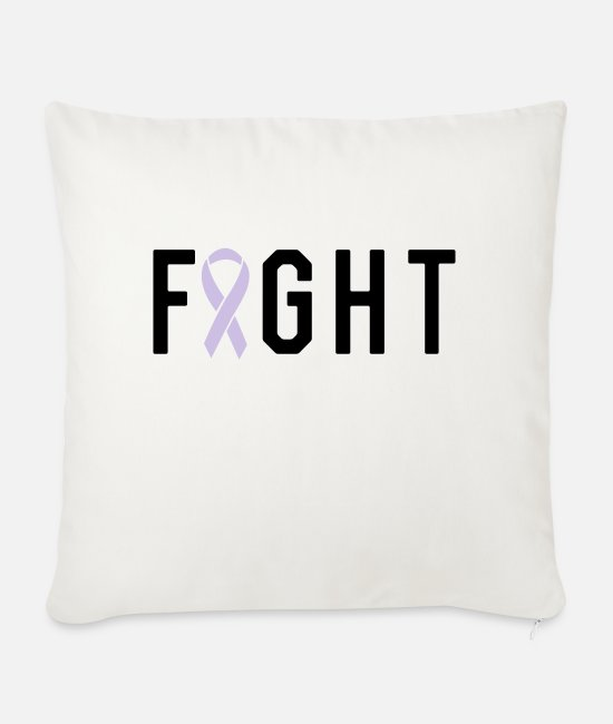 Pink Pillow Cases - Fight Ribbon - Sofa pillow with filling 45cm x 45cm natural white