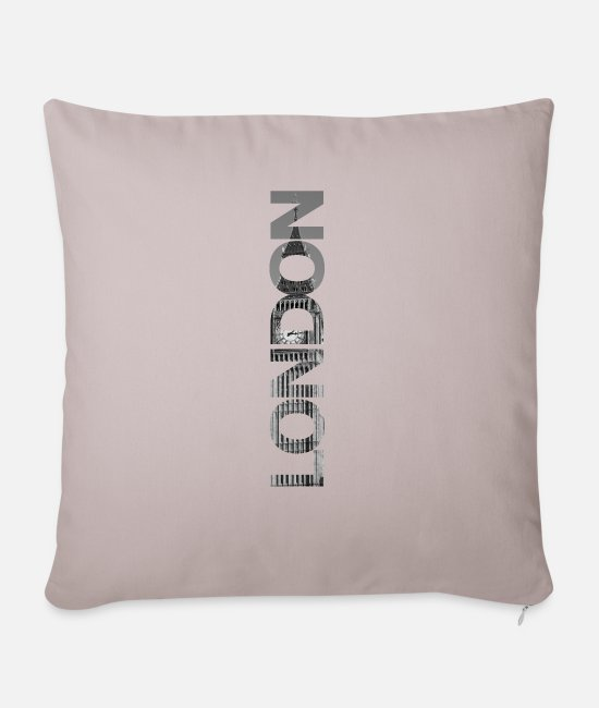 Big Pillow Cases - London Big Ben gift - Sofa pillow with filling 45cm x 45cm light taupe
