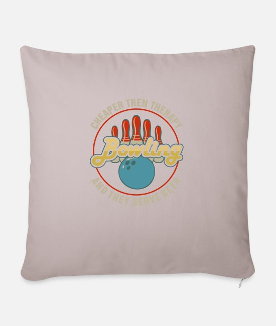 Movie Pillow Cases - Bowling: Cheaper Than Therapy, They Serve Beer | F - Sofa pillow with filling 45cm x 45cm light taupe