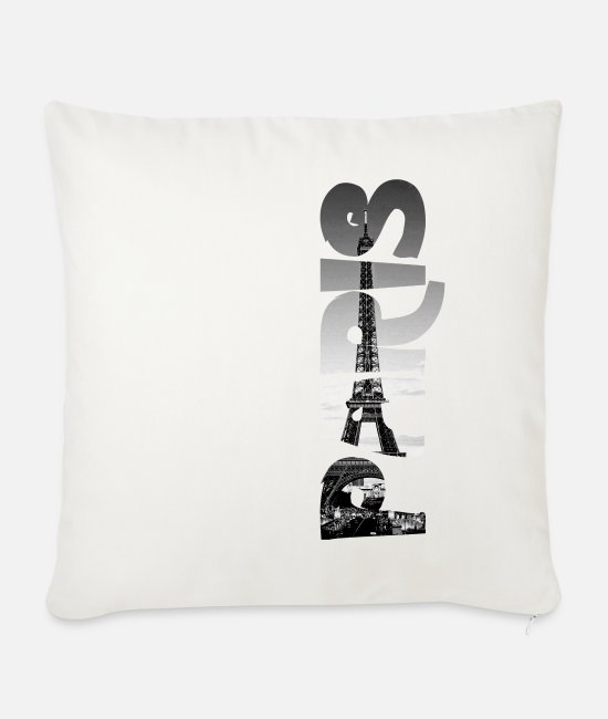 Heart Pillow Cases - Paris Eiffel Tower - Sofa pillow with filling 45cm x 45cm natural white