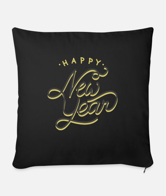 Happy New Year Pillow Cases - New Year 2020 - Sofa pillow with filling 45cm x 45cm black