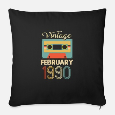 Bday Vintage February 1990 30th Birthday 30 Year Gift - Sofa pillow with filling 45cm x 45cm