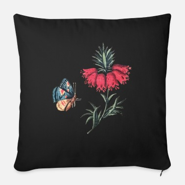 Flying butterfly with flowers - Sofa pillow with filling 45cm x 45cm