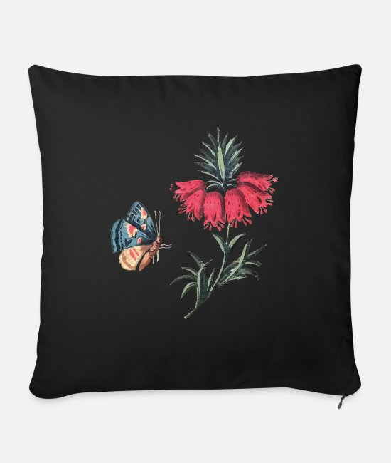 Red Pillow Cases - Flying butterfly with flowers - Sofa pillow with filling 45cm x 45cm black