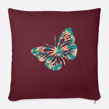 Butterfly flowers pattern - Sofa pillow with filling 45cm x 45cm
