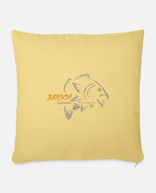 Perch Pillow Cases - Perch whisperer - perch fishing - Sofa pillow with filling 45cm x 45cm washed yellow