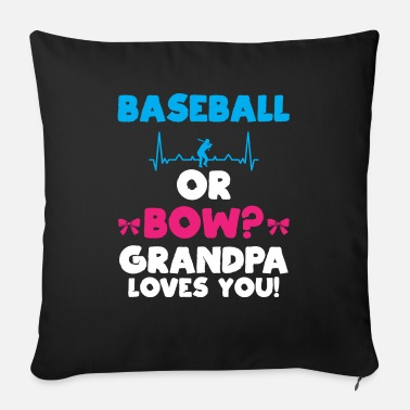 Party Baseball or Bow Grandpa Loves You Gender Reveal - Sofa pillow with filling 45cm x 45cm