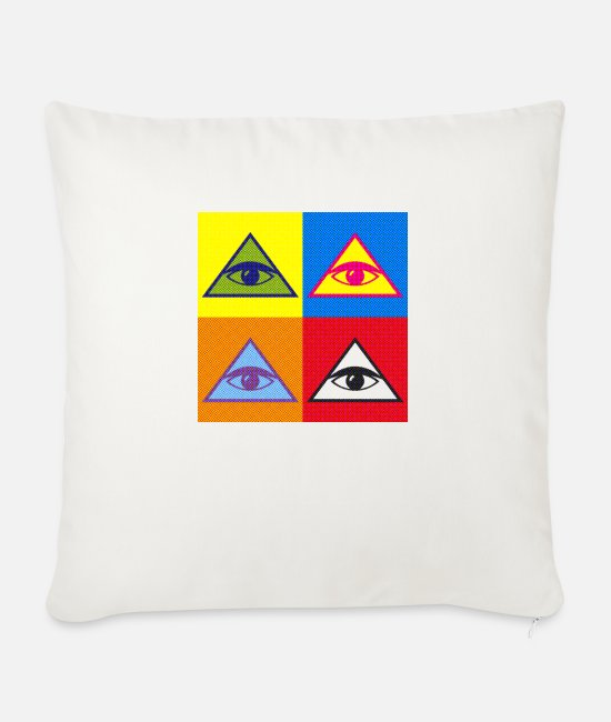 Pyramid Pillow Cases - Masonic pyramid - Sofa pillow with filling 45cm x 45cm natural white