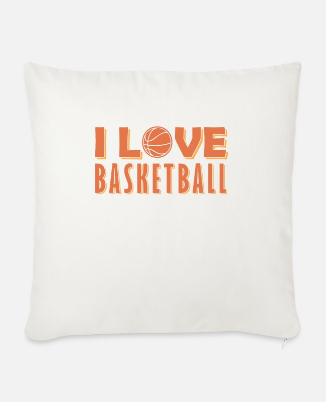 Heart Pillow Cases - Basketball Sport Rebound Basket Slamdunk - Sofa pillow with filling 45cm x 45cm natural white