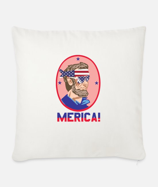 Alcohol Pillow Cases - Funny Abe Lincoln - Sofa pillow with filling 45cm x 45cm natural white