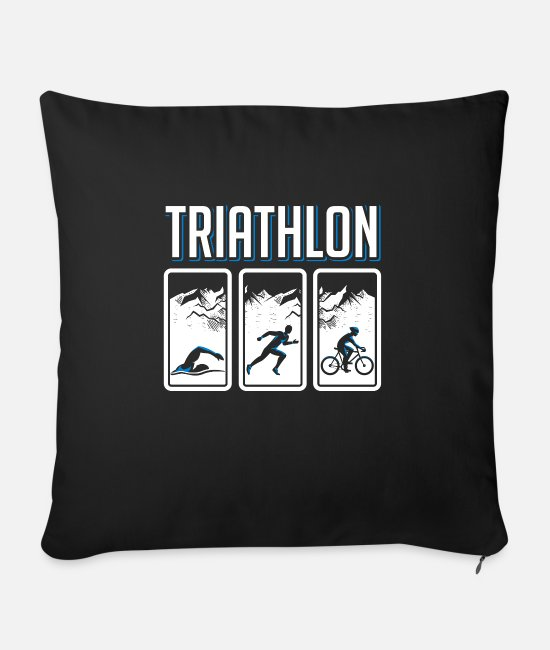 Training Pillow Cases - Triathlon - Sofa pillow with filling 45cm x 45cm black