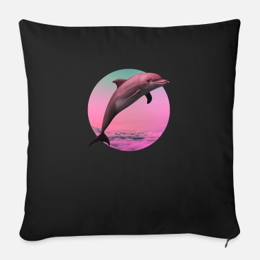 Seapunk Dolphin Vaporwave Gift Aesthetic Seapunk Dolphin - Sofa pillow with filling 45cm x 45cm