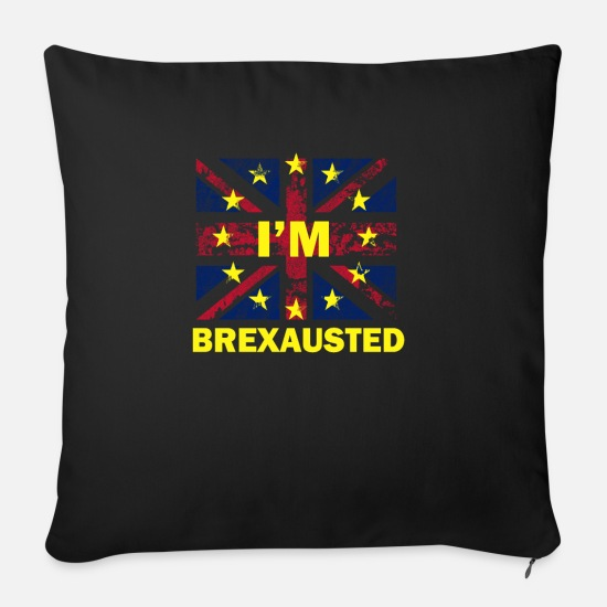 Brexit Pillow Cases - Brexit British Flag Europe Star EU - Sofa pillow with filling 45cm x 45cm black