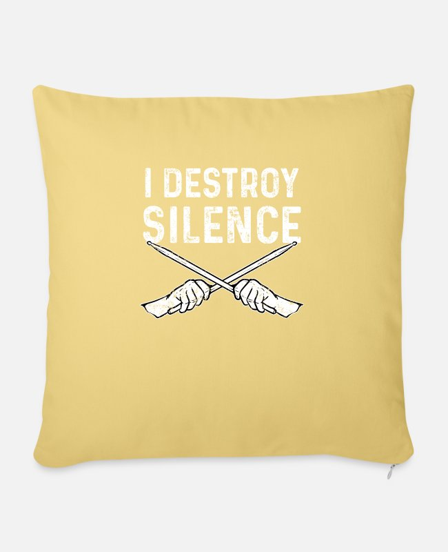 Drummer Pillow Cases - Drummer drumstick - Sofa pillow with filling 45cm x 45cm washed yellow