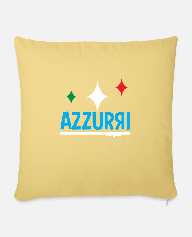 Fan Pillow Cases - Azzurri Italy Soccer Fan - Sofa pillow with filling 45cm x 45cm washed yellow