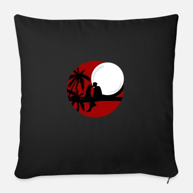 Romanesque Romantic full moon night kissing couple - Sofa pillow with filling 45cm x 45cm
