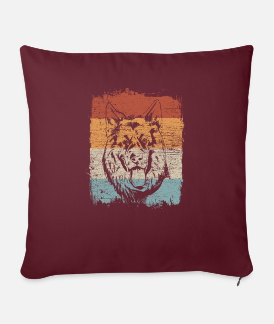 Dog Owner Pillow Cases - German shepherd retro vintage - Sofa pillow with filling 45cm x 45cm burgundy