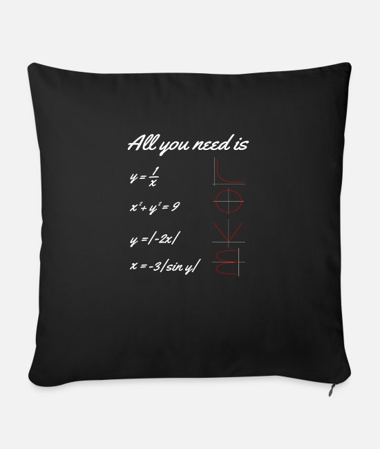 Professor Pillow Cases - All You Need Is LOVE Mathematics Math - Sofa pillow with filling 45cm x 45cm black