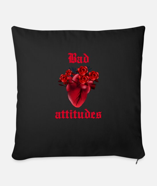 Artist Pillow Cases - Bad attitude heart rose gothic gift horror grunge - Sofa pillow with filling 45cm x 45cm black