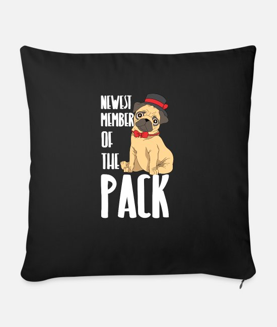 Humour Pillow Cases - Cute pug baby dog cute puppy child - Sofa pillow with filling 45cm x 45cm black