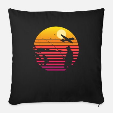 Alive Fly Fishing at Sunset | Cool Vintage Retro - Sofa pillow with filling 45cm x 45cm