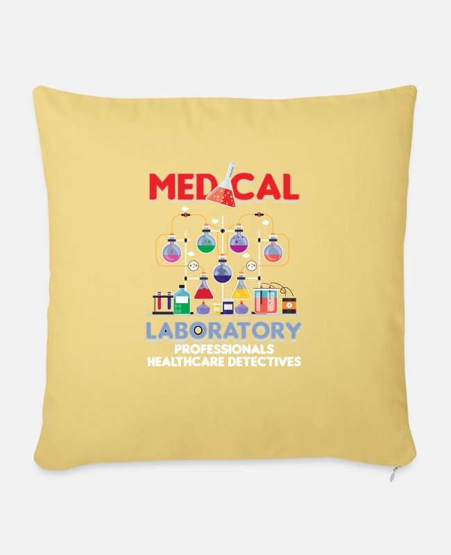 Microscope Pillow Cases - Medical Laboratory Lab Technician Medicine Test - Sofa pillow with filling 45cm x 45cm washed yellow