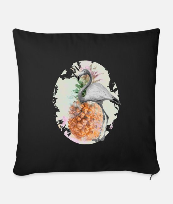 Feling Pillow Cases - Flamingo pineapple - Sofa pillow with filling 45cm x 45cm black