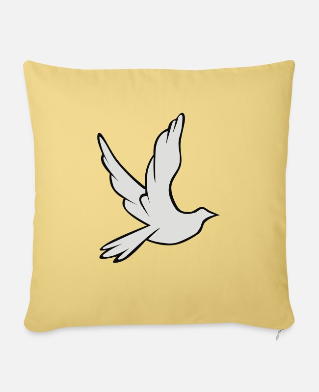 Olive Pillow Cases - Dove of peace - Sofa pillow with filling 45cm x 45cm washed yellow