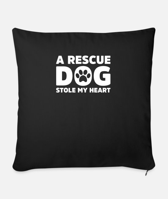 Rescue Pillow Cases - Rescue Dog - Sofa pillow with filling 45cm x 45cm black