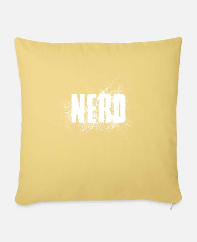 Mateo Pillow Cases - NERD status opinion saying shirt gift idea - Sofa pillow with filling 45cm x 45cm washed yellow